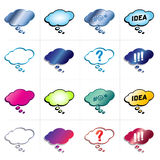 Thought bubble collection. Collection of 16 thinking bubble with blank space inside for your own words or with signs (exclamation and question mark, word IDEA Royalty Free Stock Photo