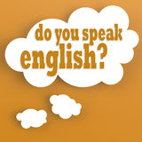 Thought bubble with do you speak english Royalty Free Stock Images
