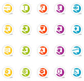 Thought Bubble Icons (Vector). SimpleCons Icon Series Thought Bubble Set: Simple, colorful round icons with cast shadow. 20 useful icons with thought bubbles stock illustration