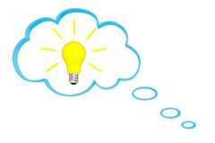Thought bubble and idea bulb Royalty Free Stock Photo