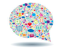 Speech bubble and social media. Speech bubble with icons for technology and social media Stock Photography