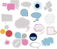 Thought bubbles. Speech bubbles, text clouds or balloons separate stock illustration