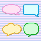Thought Bubbles on Pink and Blue Striped Pattern Stock Photo