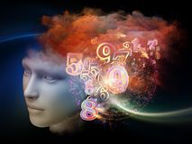 Thought Cloud. Colorful Mind series. Visually pleasing composition of human head, numbers and fractal colors to serve as  background in works on mind, dreams Stock Photography