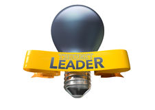 Thought Leader Light Bulb And Banner. A regular blue light bulb with shiny yellow banner and the phrase thought leadership written on it on an isolated white Royalty Free Stock Photos