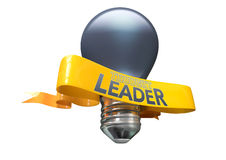 Thought Leader Light Bulb And Banner. A regular blue light bulb with shiny yellow banner and the phrase thought leadership written on it on an isolated white Stock Photography