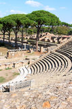 Ruins of Amfitheatre and Fire Brigade, Ostia Antica, Italy Stock Images