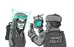 Thought Police checks brain scan royalty free illustration
