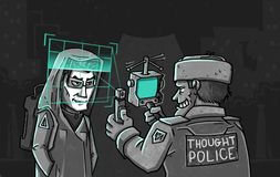 Thought Police checks brain scan at night street. Cartoon royalty free illustration