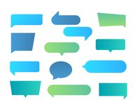 Thought shapes. Text chat speech rectangular bubbles, conversation talk shape, dialog flat shape. Vector text bubbles. Gradient set royalty free illustration