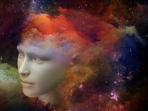 Thought stream. Colorful Mind series. Creative arrangement of human head and fractal colors as a concept metaphor on subject of mind, dreams, thinking Stock Photography