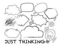 Thought symbols. Symbols of thoughts express the mood such as shock, idea, ping idea or confuse Stock Photography