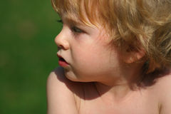Thoughtful. A toddler pauses for a moment Royalty Free Stock Photography