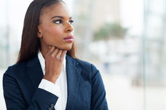 Thoughtful african businesswoman Royalty Free Stock Image
