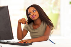 Thoughtful african student stock image