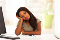 Thoughtful african student Royalty Free Stock Image