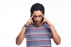 Thoughtful afro american man looking at camera Stock Photos