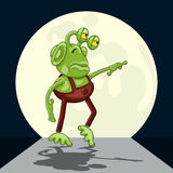 Thoughtful alien performs moonwalk dance Royalty Free Stock Images