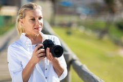 Thoughtful amateur photographer Stock Images