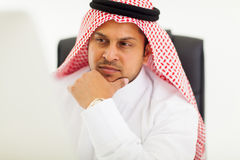 Thoughtful arabic businessman Royalty Free Stock Photos