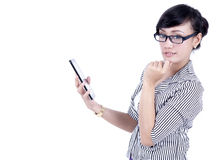 Thoughtful asian businesswoman with digital tablet Royalty Free Stock Image