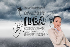 Thoughtful asian businesswoman pointing Royalty Free Stock Images