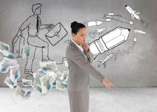 Thoughtful asian businesswoman pointing Stock Photography