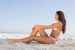 Thoughtful attractive brunette in white bikini posing while sitt Royalty Free Stock Photos