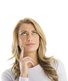 Thoughtful Attractive Woman Looking Sideways Stock Photos