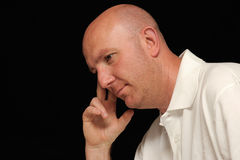 Thoughtful bald man  Stock Photography