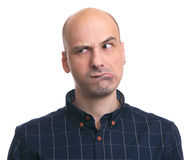 Thoughtful bald man looking away Royalty Free Stock Photography