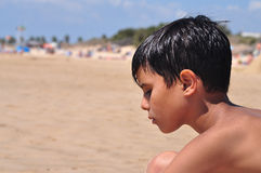 Thoughtful Beachgoer Stock Photo