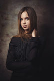 The thoughtful beautiful woman attentively looks.  Royalty Free Stock Images