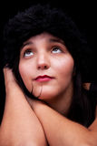 Thoughtful and beautiful woman, looking up Royalty Free Stock Image