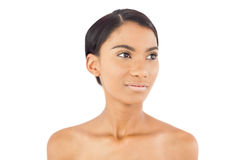 Thoughtful beautiful woman posing. On white background Stock Photo