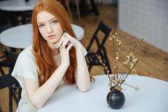 Thoughtful beautiful woman sitting in cafe. Thoughtful beautiful redhead young woman sitting in cafe Stock Photography