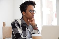 Free Thoughtful Black Female Look In Distance Making Decision Stock Images - 133854364