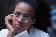 Thoughtful black teenage girl Stock Photo