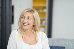Thoughtful Blond Adult Office Woman Looking Up Stock Photos