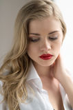 Thoughtful blond. Royalty Free Stock Photography
