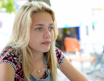 Thoughtful blond girl Stock Image