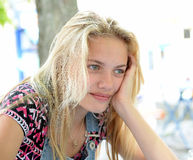 Thoughtful blond girl Royalty Free Stock Photography