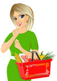 Thoughtful blonde woman holding an empty shopping basket Royalty Free Stock Photo