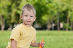 Thoughtful boy with a carrot Stock Photos