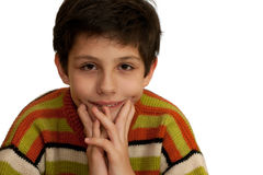 Thoughtful boy with an incomprehensible gesture Stock Photos