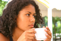 Thoughtful brazilian woman. Beautiful brazilian woman looking thoughtful Stock Photo