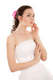 Thoughtful bride Stock Image