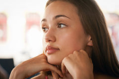 Thoughtful brunette beauty. Royalty Free Stock Photography