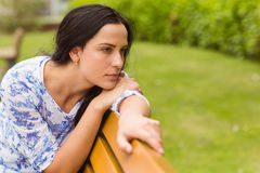 Thoughtful brunette sitting on bench Stock Image