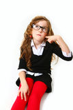 Thoughtful business girl with glasses isolated on white Stock Photo